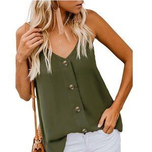 Green button down blouse